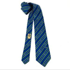Gucci G Logo Blue Green 100% Silk Neck Tie